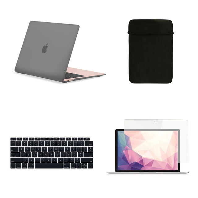 TOP CASE 4 in 1 Bundle - Rubberized Hard Case, Keyboard Cover, Sleeve Bag, Screen Protector Compatible with 2018 Release MacBook Air 13 Inch with Retina Display fits Touch ID Model: A1932 - Gray
