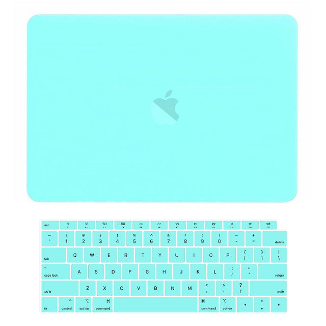 TOP CASE - 2 in 1 Rubberized Hard Case + Keyboard Cover Compatible with 2018 Release Apple MacBook Air 13 Inch with Retina Display fits Touch ID Model: A1932 - Hot Blue