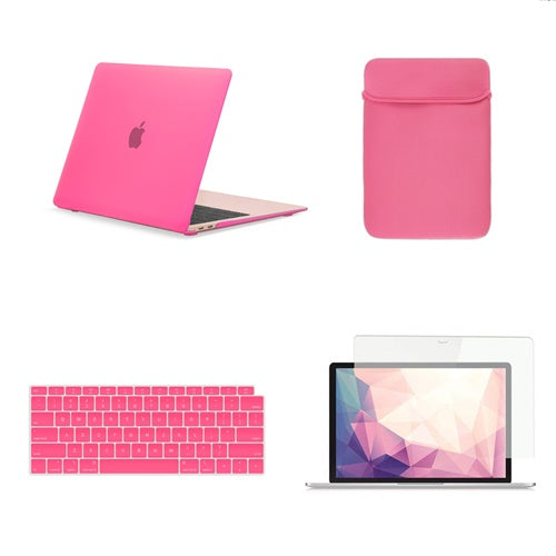 TOP CASE 4 in 1 Bundle - Rubberized Hard Case, Keyboard Cover, Sleeve Bag, Screen Protector Compatible with 2018 Release MacBook Air 13 Inch with Retina Display fits Touch ID Model: A1932 - Hot Pink