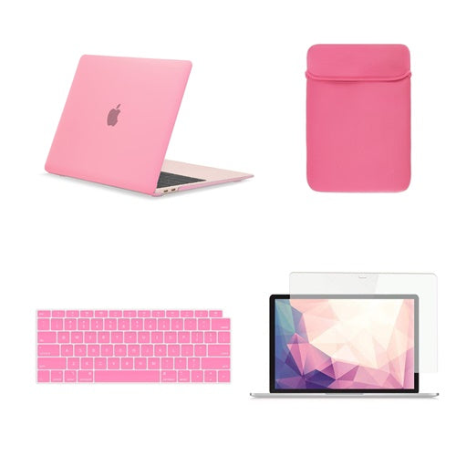 TOP CASE 4 in 1 Bundle - Rubberized Hard Case, Keyboard Cover, Sleeve Bag, Screen Protector Compatible with 2018 Release MacBook Air 13 Inch with Retina Display fits Touch ID Model: A1932 - Pink