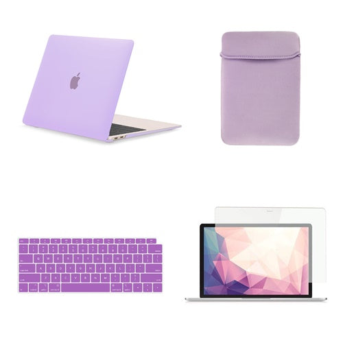 TOP CASE 4 in 1 Bundle - Rubberized Hard Case, Keyboard Cover, Sleeve Bag, Screen Protector Compatible with 2018 Release MacBook Air 13 Inch with Retina Display fits Touch ID Model: A1932 - Purple