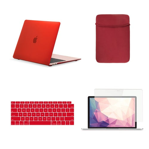 TOP CASE 4 in 1 Bundle - Rubberized Hard Case, Keyboard Cover, Sleeve Bag, Screen Protector Compatible with 2018 Release MacBook Air 13 Inch with Retina Display fits Touch ID Model: A1932 - Red