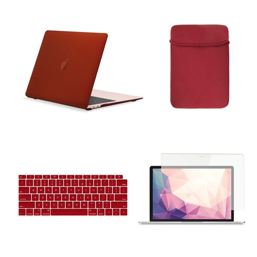 TOP CASE 4 in 1 Bundle - Rubberized Hard Case, Keyboard Cover, Sleeve Bag, Screen Protector Compatible with 2018 Release MacBook Air 13 Inch with Retina Display fits Touch ID Model: A1932 - Wine Red