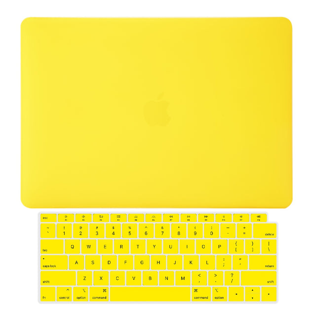TOP CASE - 2 in 1 Rubberized Hard Case + Keyboard Cover Compatible with 2018 Release Apple MacBook Air 13 Inch with Retina Display fits Touch ID Model: A1932 - Yellow