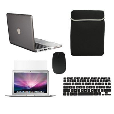 "TOP CASE 5 in 1 – Macbook Pro 13"" Crystal Case + Sleeve + Mouse + Keyboard Skin + LCD - Gray"
