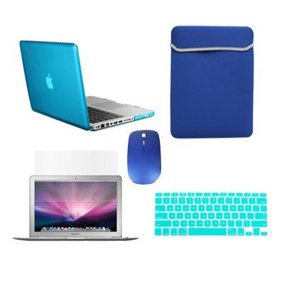 "TOP CASE 5 in 1 – Macbook Pro 13"" Crystal Case + Sleeve + Mouse + Keyboard Skin + LCD - Aqua"