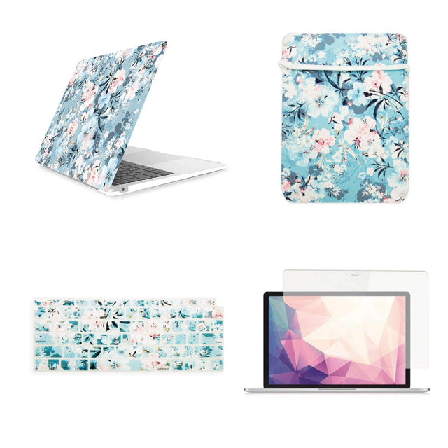 "Roll over image to zoom in TOP CASE Victorian 4 in 1 - Rubberized Hard Case, Keyboard Cover, Sleeve, Screen Protector Compatible with 2018 Release MacBook Air 13"" with Retina Display fits Touch ID Model: A1932 - Airy Blue"