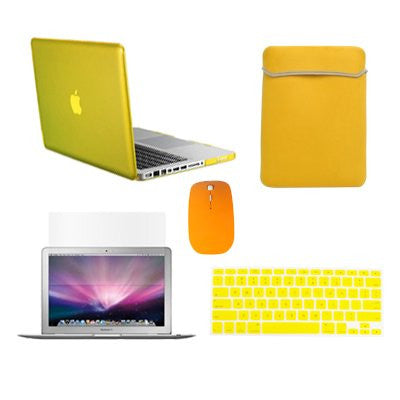 "TOP CASE 5 in 1 – Macbook Pro 13"" Crystal Case + Sleeve + Mouse + Keyboard Skin + LCD - YELLOW"