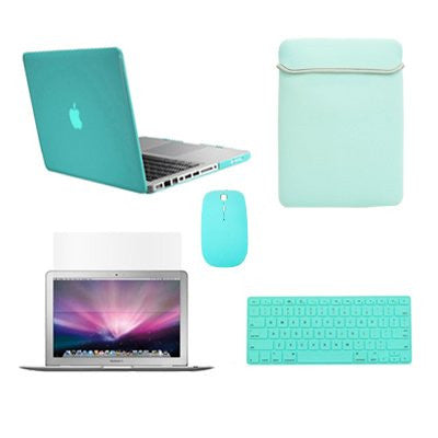 "TOP CASE 5 in 1 – Macbook Pro 13"" Crystal Case + Sleeve + Mouse + Keyboard Skin + LCD - Hot Blue"