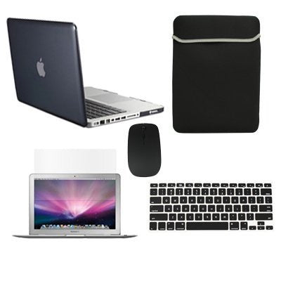 "TOP CASE 5 in 1 – Macbook Pro 13"" Crystal Case + Sleeve + Mouse + Keyboard Skin + LCD - BLACK"