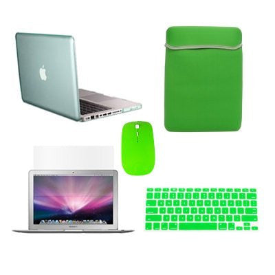"TOP CASE 5 in 1 – Macbook Pro 13"" Crystal Case + Sleeve + Mouse + Keyboard Skin + LCD - GREEN"