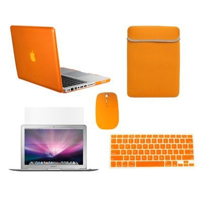 "TOP CASE 5 in 1 – Macbook Pro 13"" Crystal Case + Sleeve + Mouse + Keyboard Skin + LCD - ORANGE"