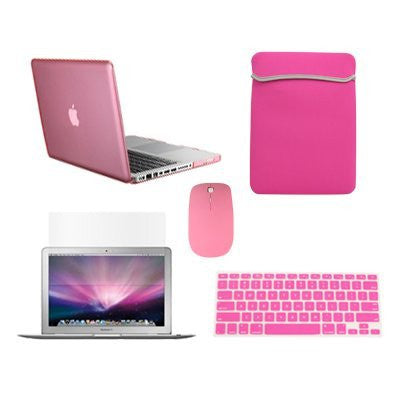 "TOP CASE 5 in 1 – Macbook Pro 13"" Crystal Case + Sleeve + Mouse + Keyboard Skin + LCD - PINK"
