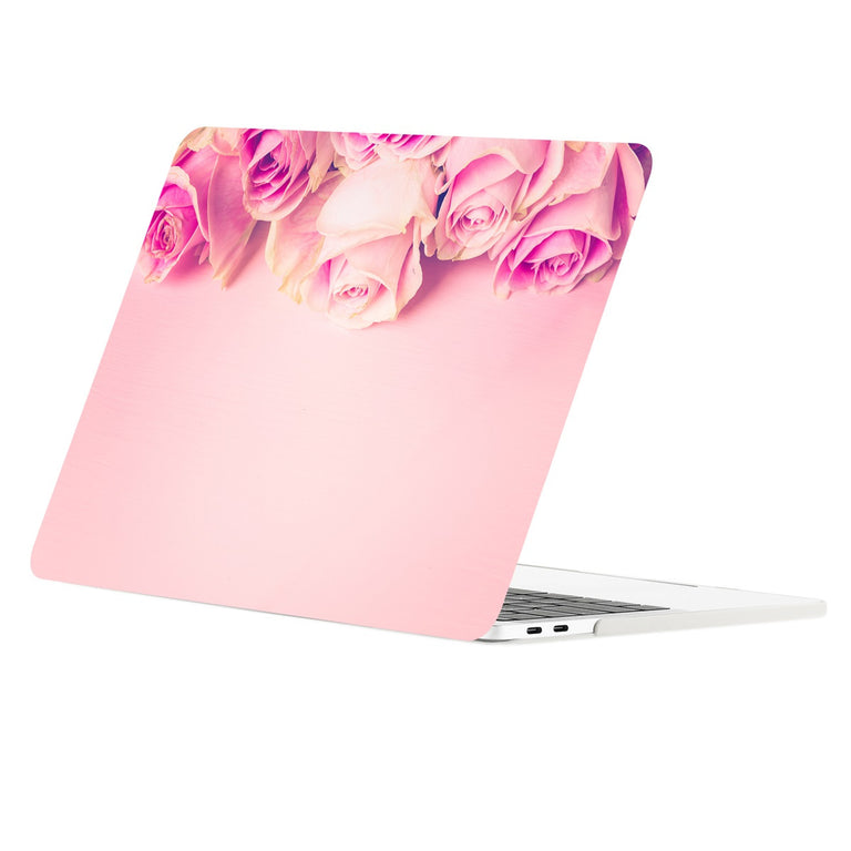 TOP CASE - Floral Pattern Graphic Rubberized Hard Case Cover for MacBook Pro 15-inch A1707/A1990 with Touch Bar( Release 2016/17/18 ) - Pink Rose on Rose Quartz Base