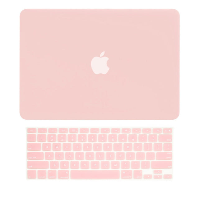 "2 in 1 Bundle Deal Rubberized Hard Case and Keyboard Cover for Old Generation Macbook Pro 13-Inch (13"" Diagonally) with CD-ROM / DVD DRIVE A1278 - NOT for retina display - Rose Quartz"