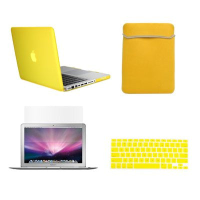 "TOP CASE 4 in 1 – Macbook Pro 15"" Rubberized Case + Sleeve + Keyboard Skin + LCD - Yellow"
