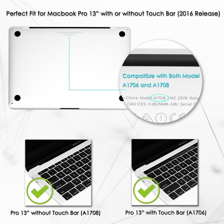 Graphics Rubberized Hard Case for MacBook Pro 13-inch A1706/A1989 with Touch Bar / A1708 without Touch Bar ( Release 2016/18/19 ) - Brilliant Light