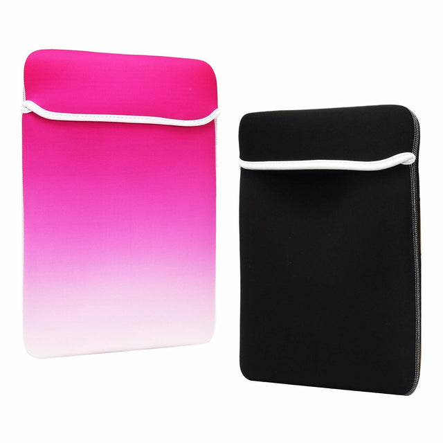 "TOP CASE Faded Ombre Reversible Sleeve Bag Cover for Most 13"" 13-inch Laptop Notebook / Macbook / Ultrabook / Chromebook - Hot Pink/White"