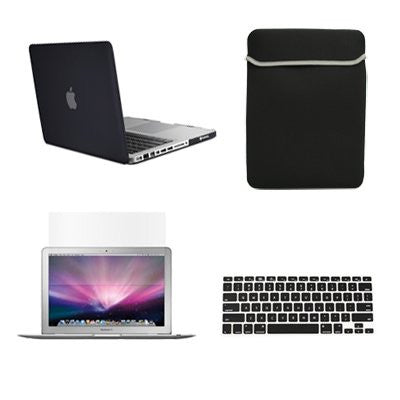"TOP CASE 4 in 1 - Macbook Pro 13"" Matte Case + Sleeve + Keyboard Skin + LCD -BLACK"
