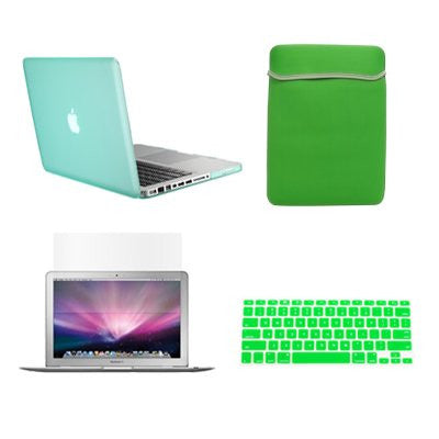 "TOP CASE 4 in 1 – Macbook Pro 15"" Rubberized Case + Sleeve + Keyboard Skin + LCD - Green"