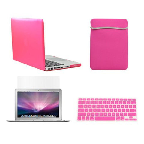 "TOP CASE 4 in 1 - Macbook Pro 13"" Matte Case + Sleeve + Keyboard Skin + LCD -HOT PINK"
