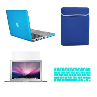 "TOP CASE 4 in 1 – Macbook Pro 15"" Rubberized Case + Sleeve + Keyboard Skin + LCD - Aqua Blue"