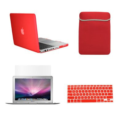 "TOP CASE 4 in 1 - Macbook Pro 13"" Matte Case + Sleeve + Keyboard Skin + LCD - RED"