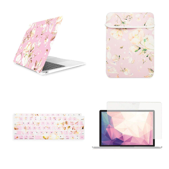 "TOP CASE Victorian 4 in 1 - Rubberized Hard Case, Keyboard Cover, Sleeve, Screen Protector Compatible with 2018 Release MacBook Air 13"" with Retina Display fits Touch ID Model: A1932 - Pink"