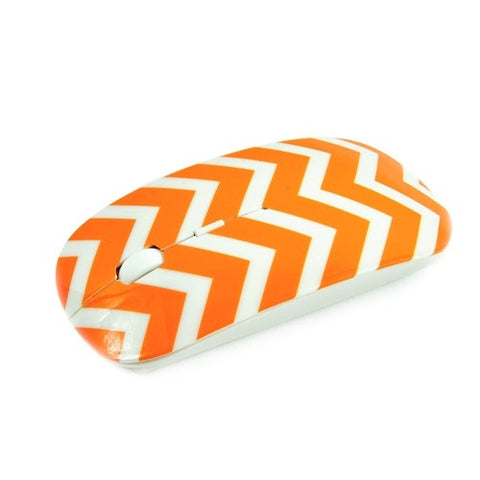 Chevron Series Orange USB Wireless Optical Mouse for All Macbook & Lapto - TOP CASE