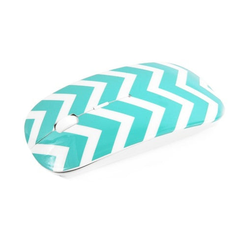 Chevron Series Turquoise USB Wireless Optical Mouse for All Macbook & Laptop - TOP CASE