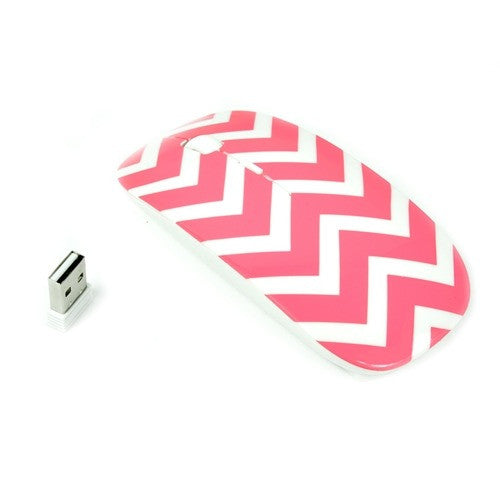 Chevron Series Pink USB Wireless Optical Mouse for All Macbook & Lapto - TOP CASE