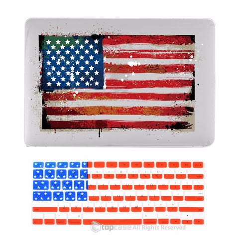 "TOP CASE 2 in 1 - Macbook Air 13"" US National Flag Hard Case Cover + Keyboard Cover (US FLAG)"