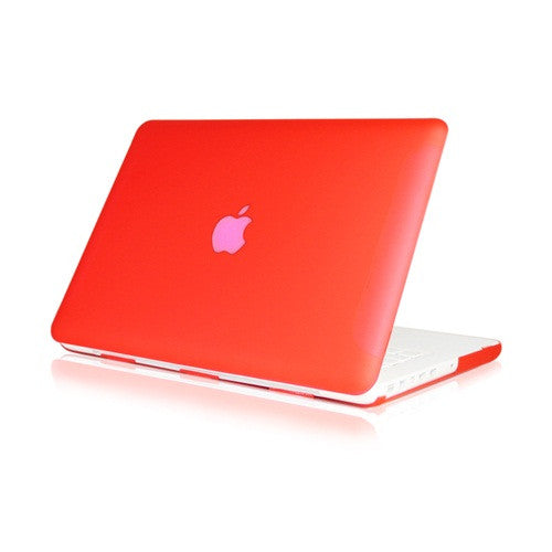 Red Rubberized Hard Case Cover for Macbook White 13""