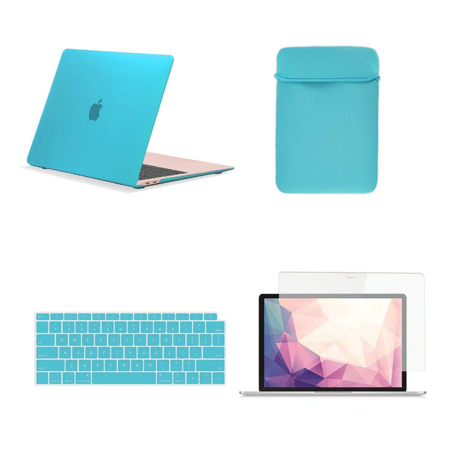 TOP CASE 4 in 1 Bundle - Rubberized Hard Case, Keyboard Cover, Sleeve Bag, Screen Protector Compatible with 2018 Release MacBook Air 13 Inch with Retina Display fits Touch ID Model: A1932 - Aqua Blue