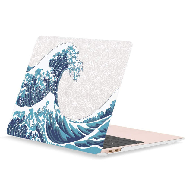 Graphic Rubberized Hard Case Cover for MacBook Pro 15-inch with Touch Bar Model: A1707 / A1990(2016/17/18 Release) - Japanese Great Wave for Christian