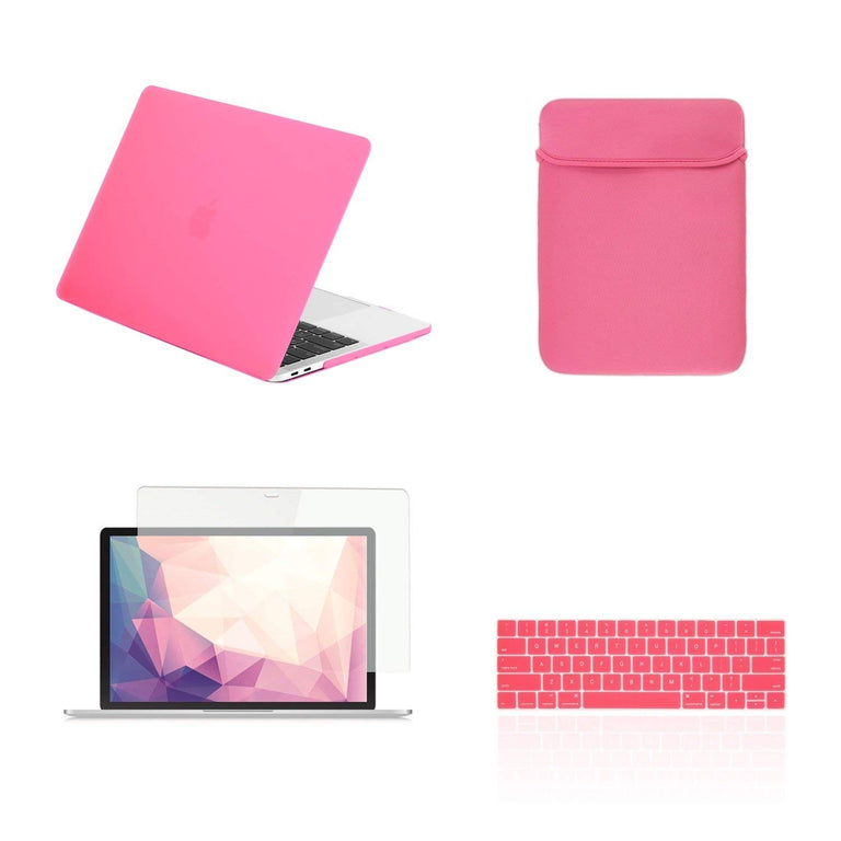 TOP CASE - 4 in 1 Matte Hard Case,Keyboard Cover,Sleeve Bag,Screen  Protector Compatible With MacBook Pro 13