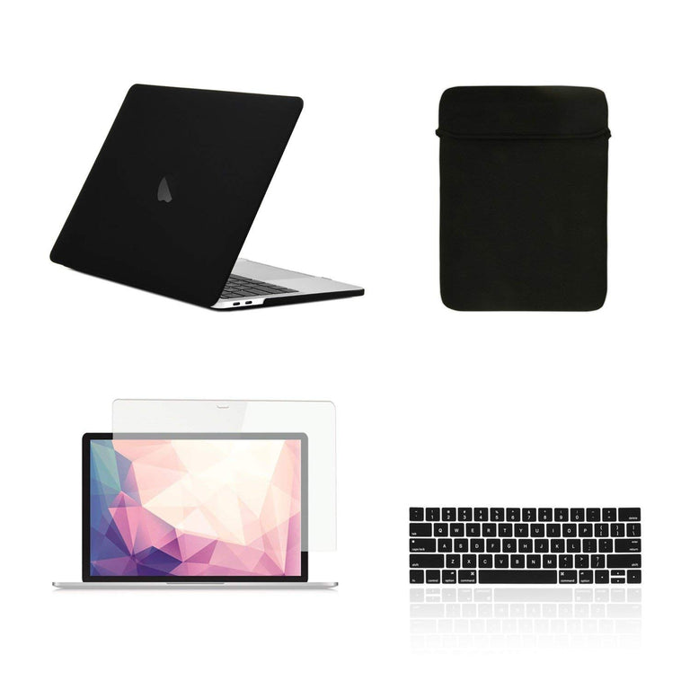 "TOP CASE - 4 in 1 Matte Hard Case,Keyboard Cover,Sleeve Bag,Screen Protector Compatible With MacBook Pro 13"" A1989,A1706 with Touch Bar (Release 2017,2016,2018) - Black"