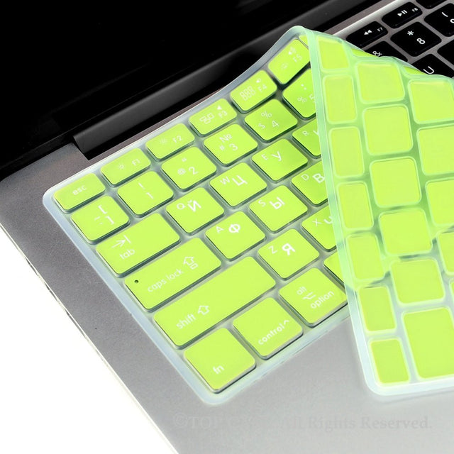 "Russian / English MINT GREEN Silicone Keyboard Cover for Macbook Pro 13"" 15"" 17"""