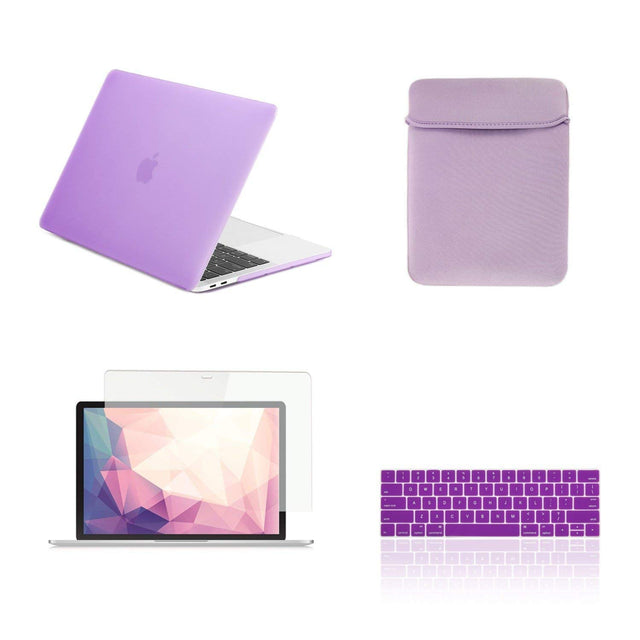 TOP CASE - 4 in 1 Matte Hard Case,Keyboard Cover,Sleeve Bag,Screen Protector Compatible With MacBook Pro 13-inch A1708 without Touch Bar(Release 2017,2016) - Purple