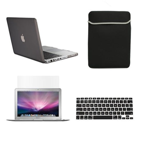 "TOP CASE 4 in 1 – Macbook Pro 15"" Rubberized Case + Sleeve + Keyboard Skin + LCD (GRAY)"