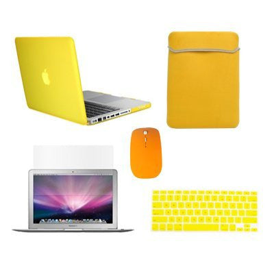"TOP CASE 5 in 1 - Macbook Pro 15""Rubberized Case + Sleeve + Mouse + Keyboard Skin + LCD - YELLOW"