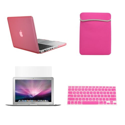 "TOP CASE 4 in 1 – Macbook Pro 15"" Rubberized Case + Sleeve + Keyboard Skin + LCD (PINK)"