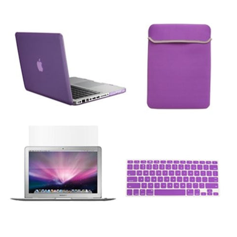 "TOP CASE 4 in 1 – Macbook Pro 15"" Rubberized Case + Sleeve + Keyboard Skin + LCD (PURPLE)"