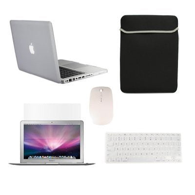 "TOP CASE 5 in 1 - Macbook Pro 15""Rubberized Case + Sleeve + Mouse + Keyboard Skin + LCD - CLEAR"