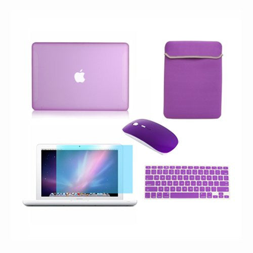 "TOP CASE 5 in 1 – Macbook White 13"" Rubberized Case + Sleeve + Mouse + Keyboard Skin + LCD - Purple"