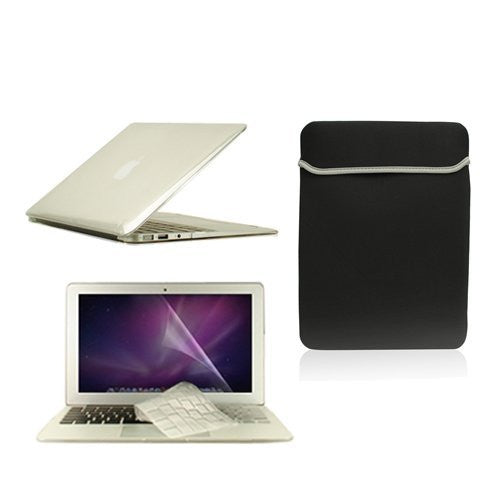 "TOP CASE 4 in 1  - MacBook Air 11"" Crystal Hard Case + Sleeve Bag + TPU Keyboard Cover + LCD (CLEAR)"