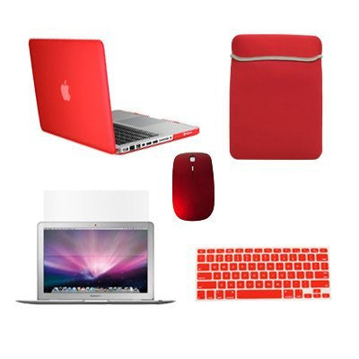 "TOP CASE 5 in 1 - Macbook Pro 15""Rubberized Case + Sleeve + Mouse + Keyboard Skin + LCD - RED"