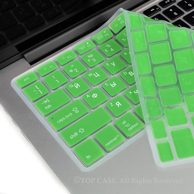 "Russian / English GREEN Silicone Keyboard Cover for Macbook Pro 13"" 15"" 17"""