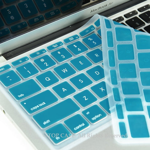 "Aqua Blue Keyboard Silicone Cover Skin for New Macbook Air 11"" Model: A1465 - TOP CASE"