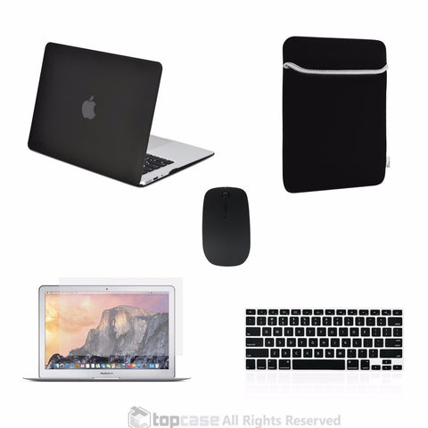 "TOP CASE 5 in 1 – Macbook Air 13"" Matte Case + Sleeve + Mouse + Keyboard Skin + LCD - BLACK"